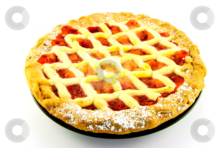 Apple and Strawberry Pie stock photo, Whole apple and strawberry pie on a black plate on a white background by Keith Wilson