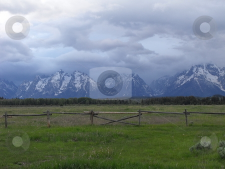 The Grand Tetons stock photo, A distant shot of the Grand Tetons by Kim Williams