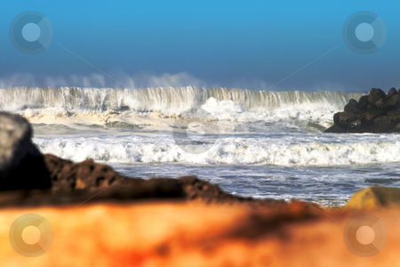 Big Wave stock photo, Big Wave stormy ocean waves with drift wood in the foreground. by Henrik Lehnerer