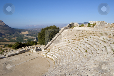 The Theater of Segesta in Sicily stock photo, The Theater of Segesta (3th century BC) dominates the valley; Sicily, Italy by Roberto Marinello