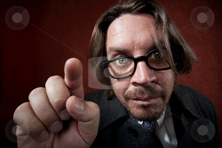Puzzled Man with Glasses stock photo, Potrait of worried rugged man with glasses making a funny face by Scott Griessel