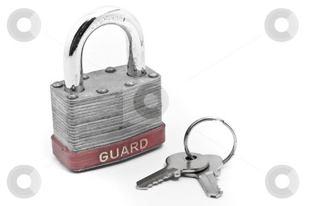Padlock and keys stock photo, Padlock, dial lock and keys with white background by Kenneth Ro
