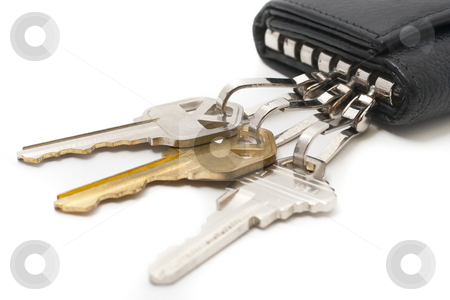 Keys and key chain stock photo, Padlock, dial lock and keys with white background by Kenneth Ro