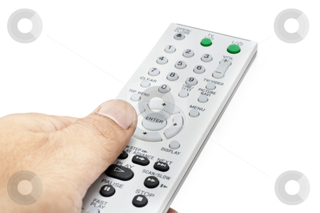 Remote Controller with hand stock photo, Remote Controller for TV or DVD with different angle and usage with white background by Kenneth Ro