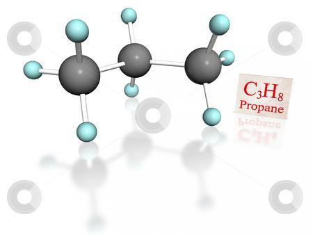 Propane white stock photo, Molecular model of propane with label on white background by ANTONIO SCARPI