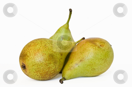 Three Pears stock photo, Three green pears isolated on white background by ANTONIO SCARPI