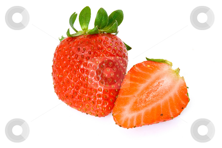 Strawberries stock photo, Two strawberries, one cut in half, isolated on white background with clipping path by ANTONIO SCARPI