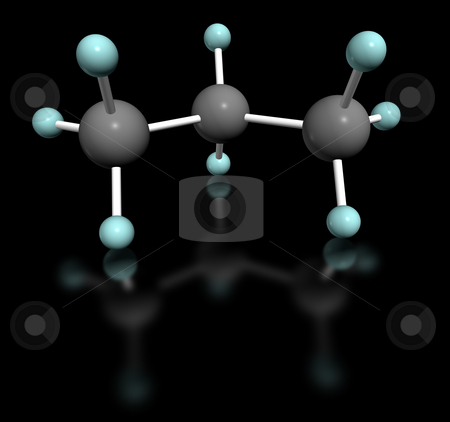 Propano stock photo, 3D molecular model of propane on black background by ANTONIO SCARPI