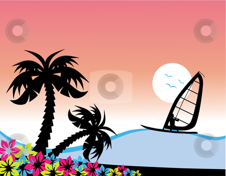 Surfing stock vector clipart, Vector illustration of a surfer on a wave, with palm trees on the left by Inge Schepers