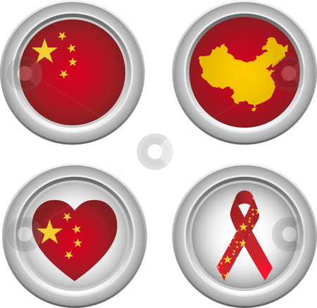 China Buttons stock vector clipart, Chinese Buttons with ribbon, heart, map and flag by Augusto Cabral Graphiste Rennes