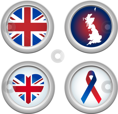United Kingdom Buttons stock vector clipart, United Kingdom Buttons with ribbon, heart, map and flag by Augusto Cabral Graphiste Rennes