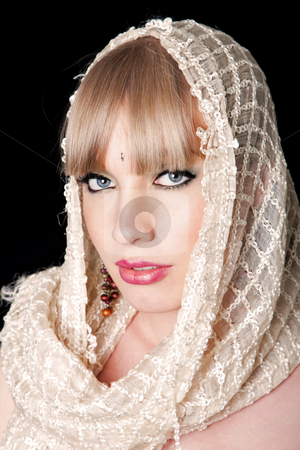 Woman with scarf stock photo, Beautiful face of woman with white scarf, isolated by Paul Hakimata