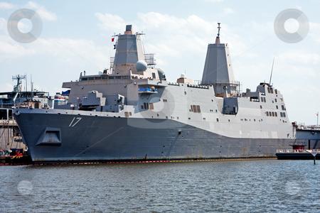 USS San Antonio (LPD-17) stock photo, The USS San Antonio (LPD-17), advanced marine navy stealth battle ship anchored in Norfolk, Virginia by Paul Hakimata