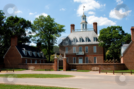 Governor's Palace stock photo, The Governor's Palace in Colonial Williamsburg, Virginia. A brick Colonial house with a courtyard, and former home of Thomas Jefferson. by Paul Hakimata