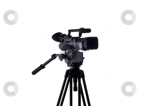 Black video camera mounted on tripod 3/4 view stock photo, Mid-range video camera mounted on tripod black by Jeff Cleveland