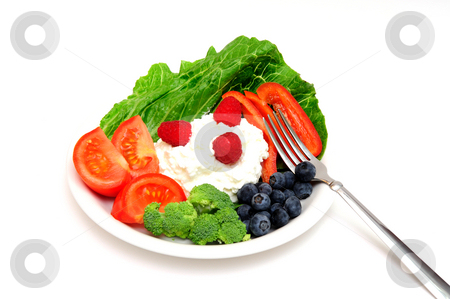 Berry And Cottage Cheese Salad stock photo, Cottage cheese salad with vegetables and berries including Raspberry, Blueberry, Red Bell Pepper, Broccoli, Tomato on a bed of Romain lettuce. by Lynn Bendickson