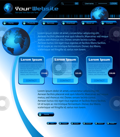 Blue website layout template - vector illustration stock vector clipart, Blue website layout template - vector illustration by Adrian Grosu