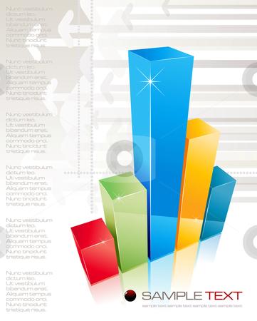 3D shiny graph - vector illustration stock vector clipart, 3D shiny graph - vector illustration by Adrian Grosu