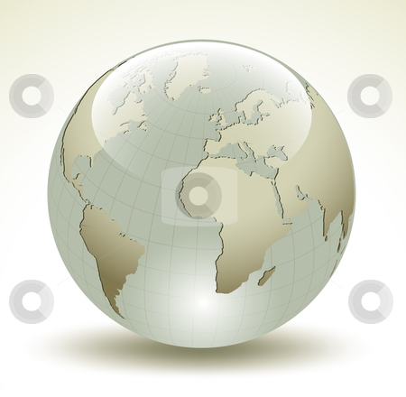 3D Earth glossy sphere - vector illustration stock vector clipart, 3D Earth glossy sphere - vector illustration by Adrian Grosu