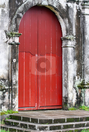 Door stock photo, An old door of an abandoned catholic church by Claro Alindogan