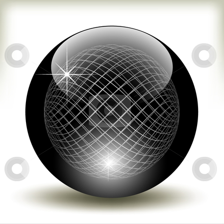 Black glossy refracting sphere - vector illustration stock vector clipart, Black glossy refracting sphere - vector illustration by Adrian Grosu