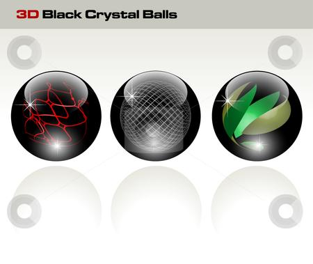 Black glossy refracting spheres - vector illustration stock vector clipart, Black glossy refracting spheres - vector illustration by Adrian Grosu