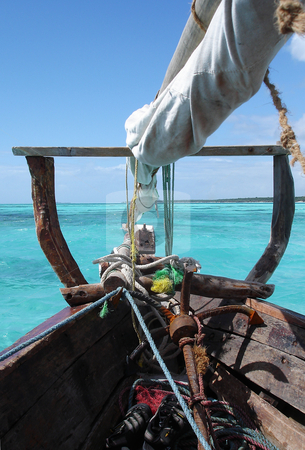 Arabian dhow on Indian Ocean stock photo, Old wooden dhow on the turqoise Indian Ocean near Zanzibar by Peter Van veldhoven