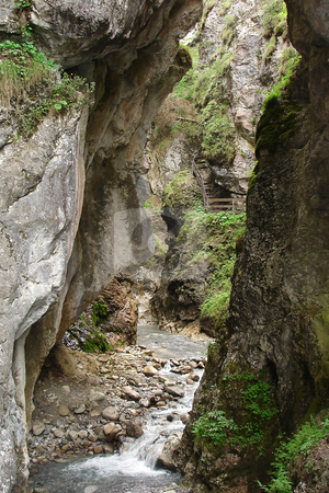Narrow canyon in the Alps stock photo, The Rosengartenschlucht, a narrow canyon in the Austrian Alps. by Peter Van veldhoven