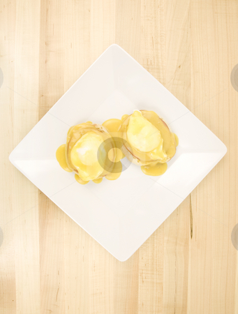 Eggs benedict Aerial view stock photo, Eggs benedict Aerial view on a white plate by John Teeter