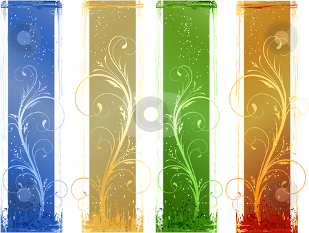 Abstract grunge banner with floral design   elements stock vector clipart, Grunge banner with floral design elements.   Linear gradients, global colors. Artwork grouped and   layered. by Ina Wendrock