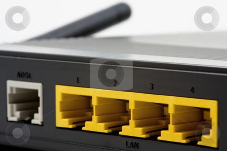 DSL modem stock photo, DSL modem close up over white background by Gabriele Mesaglio