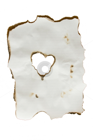 Paper Heart stock photo, An isolation of a burned piece of paper with a heart at the center by Kevin Tietz
