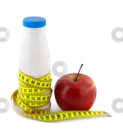 Bottle milk apple measure tape stock photo, Bottle milk apple measure tape isolated on white background by Vladyslav Danilin