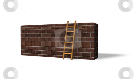 Escape stock photo, Bricked wall and ladder on white background - 3d illustration by J?
