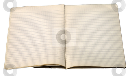 Old Notebook stock photo, Two pages of aged notebook with big squares by Fabio Alcini