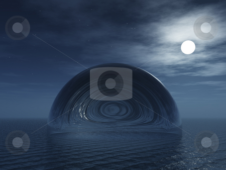 Abstract bubble at night stock photo, Glass dome at the ocean - 3d illustration by J?