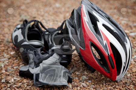 Bicycling Gear stock photo, Still life arrangement of bicycling safety gear by Scott Griessel