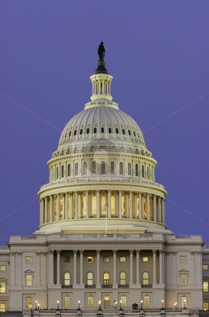 Dome of US Capitol at Dusk stock photo, Dome of US Capitol Building at Dusk by dcslim