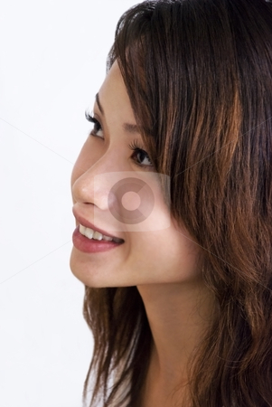 Young Smiling Asian Woman stock photo, A young beautiful Asian woman smiling and looking up. Adobe RGB color profile. by Stefan Breton