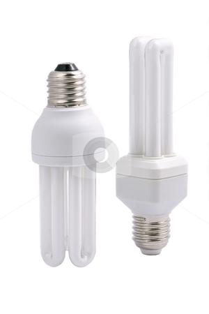 Two modern energy saving light bulbs stock photo, Two modern energy saving light bulbs, isolated on white background. by Valery Kraynov