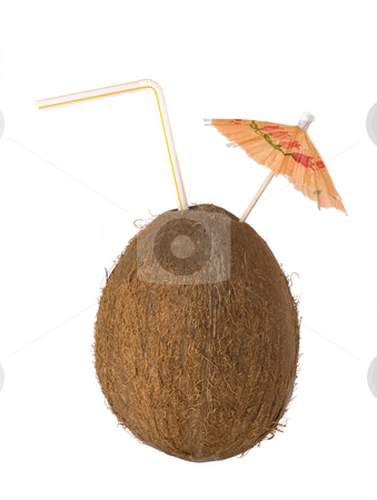 Coconut drink, cocos with a straw and umbrella stock photo, Coconut drink, cocos with a straw and umbrella by Valery Kraynov