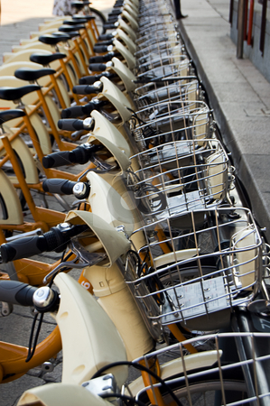 Public bike sharing stock photo, A park for ecological city bike sharing by Roberto Marinello