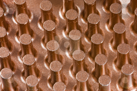Copper cooling surface stock photo, Close up of copper cilinders of a cooling surface by Gabriele Mesaglio