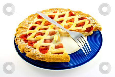 Apple and Strawberry Pie with a Slice Missing stock photo, Whole apple and strawberry pie with a small fork on a blue plate with a slice missing on a white background by Keith Wilson