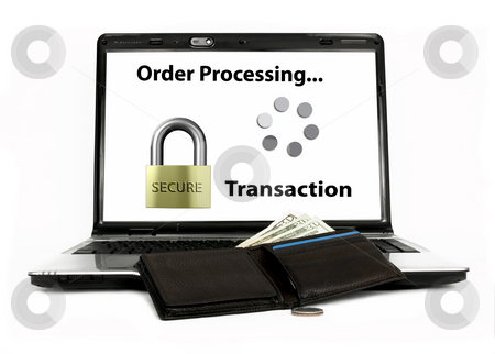 Online buying stock photo, Online buying with secure transaction on white background by John Teeter