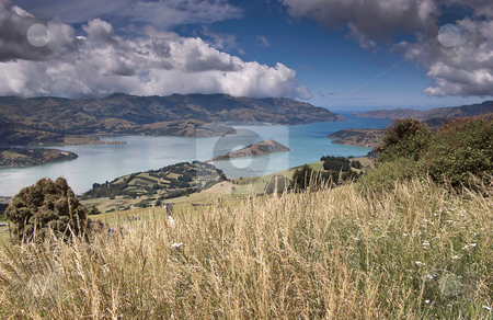Peninsular panorama stock photo, A wide angle image of Banks Peninsular in New Zealand's South Island. Once the site of two large volcanoes, the sea eventually broke through the Caldera wall to form the wonderful harbour by Robin Ducker