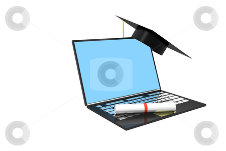 Grad stock photo, Diploma and graduation cap on laptop computer by Ira J Lyles Jr