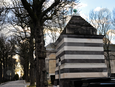 Striped mausoleum stock photo, Striped mausoleum in Pere Lachaise by Jaime Pharr