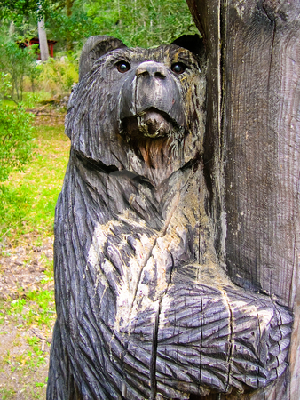 Bear carving stock photo, Wood bear carving by Jaime Pharr