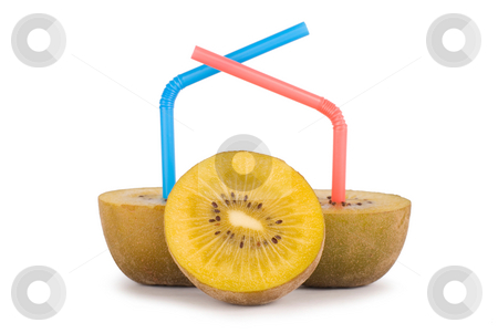 Concept of kiwi juice stock photo, Color Straw on kiwi, concept of kiwi juice by Lawren